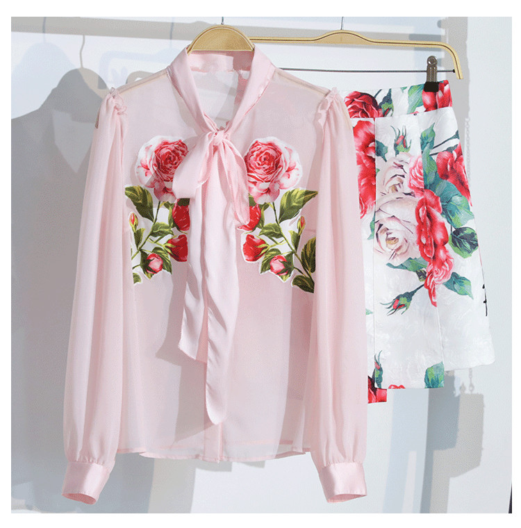 a3433edfd441a womens tops and blouses 2018 Cute Rose Floral Printed Bows Long Sleeve  Blouse Pink Women shirts Ladies clothing chemise femme