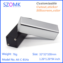 4 pcs, 32*32*100mm tupe type aluminum extrusion case szomk GPS tracker aluminum enclosure for pcb design junction box