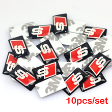 10pcs/lot, New Car styling S line small Decorative Badge Hub caps Steering wheel for audi Car Emblem Sticker