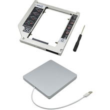 "1Set 2.5"" SSD HDD Caddy 9.5mm SATA 3.0 for Apple Macbook Air Pro + External Slimline Slim SATA USB 2.0 SuperDrive Case Enclosure"