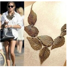 N194 Latest Fashion Retro Floral Leaf Leaves Temperament Exaggerated Short Necklace Jewelry Factory Direct