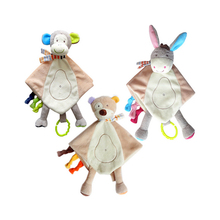 JJOVCE Baby's Cute Plush Toy Comfort Towel Animal Doll with Bib Calm Doll Playmate Cartoon Monkey Deer Bear Doll for Newborns(China)
