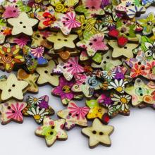100pcs Colorful Wood Pentagram Shape Sewing Mending Wooden Buttons Christmas Gift 6LKR(China)