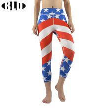 American Flag Printing Yoga Pants Elastic Compression Running Pants Breathable Gym Leggings Fitness Tights Patriots Jersey(China)