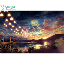 Zhui Star 5D DIY full Square drill Diamond Painting Embroidery Beauty look fireworks Cross Stitch Rhinestones Mosaic home decor