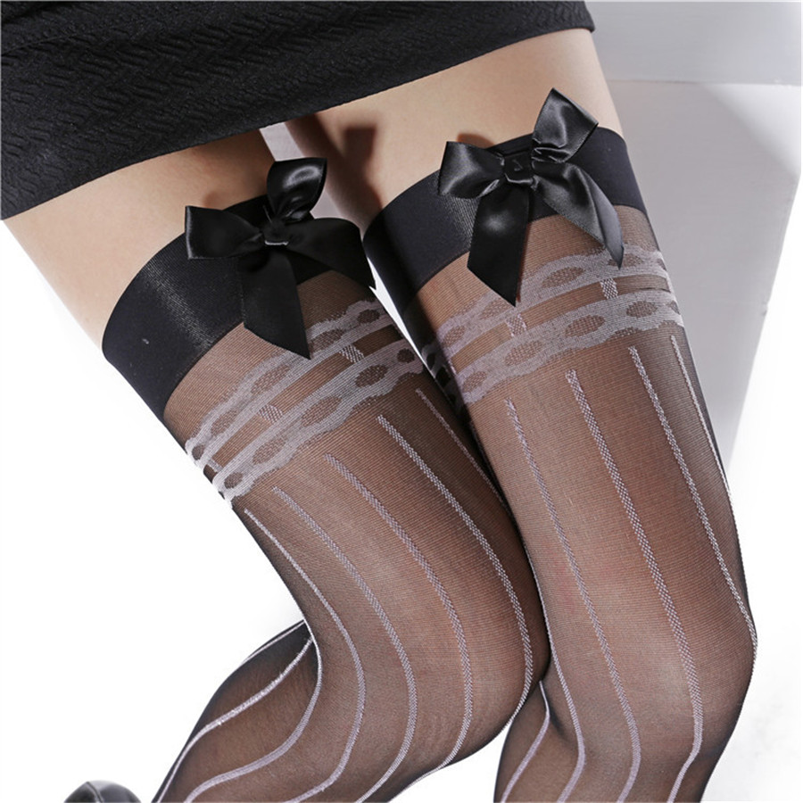 Women's Sexy Thigh High Stockings Ladies Sexy Lace Bow Top Sheer Stay Up Tattoo Stockings Pantyhose Sexy Lingerie