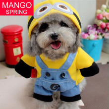 2016 Yellow Minions Pet Dog Clothes Cartoon Dog Coat Cat Clothing Puppy Animals Costume for Chihuahua Yorkshire Puppy Hoodie
