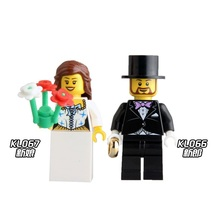 Building Blocks Bride and Bridegroom Custom Made Suit Wedding Figures Super Heroes Set Bricks Kids DIY Toys Hobbies(China)