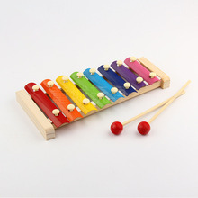 1 Set Xylophone 8 Notes Keys Colorful Hand Knock Piano Glockenspiel Wooden Musical Instrument Percussion Toys