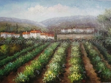 Seascape Tuscan Scenes Vineyard Italy High quality gifts free shipping oil paintings on canvas Modern Art Deco