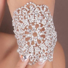 Bridal Crystal Rhinestone Arm Bracelet Adjustable Chain Wedding Party Jewelry