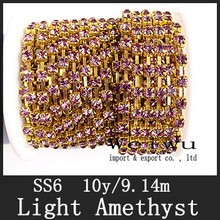 High Qaulity SS6 Light Amethyst Color 10 Yards/Roll Golden Base Strass Rhinestone Cup Chain(China)