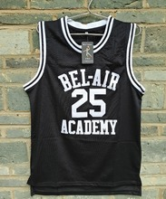 Brand LIANZEXIN Carlton Banks #25 Jersey Bel Air Academy Mens Black Basketball Throwback Stitch Jerseys For Sale(China)