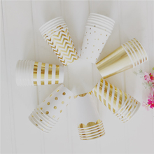 Lovely Paper Disposable Cups Golden Dot Striped Star Pattern 270ml For Afternoon Tea Birthday Wedding Party New Year 1 Pack(China)