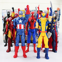 30cm Super Heros The Avengers Thor Iron Man Spider Man Captain America Wolverine PVC Toy Action Figure Model With Box