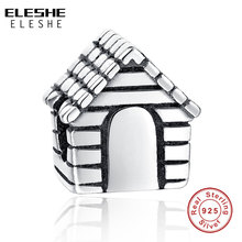 ELESHE Authentic Real 925 Sterling Silver Charm Family House Charm Beads Fit Pandora Bracelet Necklace DIY Original Jewelry
