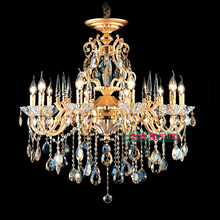 Bohemian Crystal Chandelier traditional vintage chandeliers bronze and brass chandelier Antique gold crystal lighting candle(China)