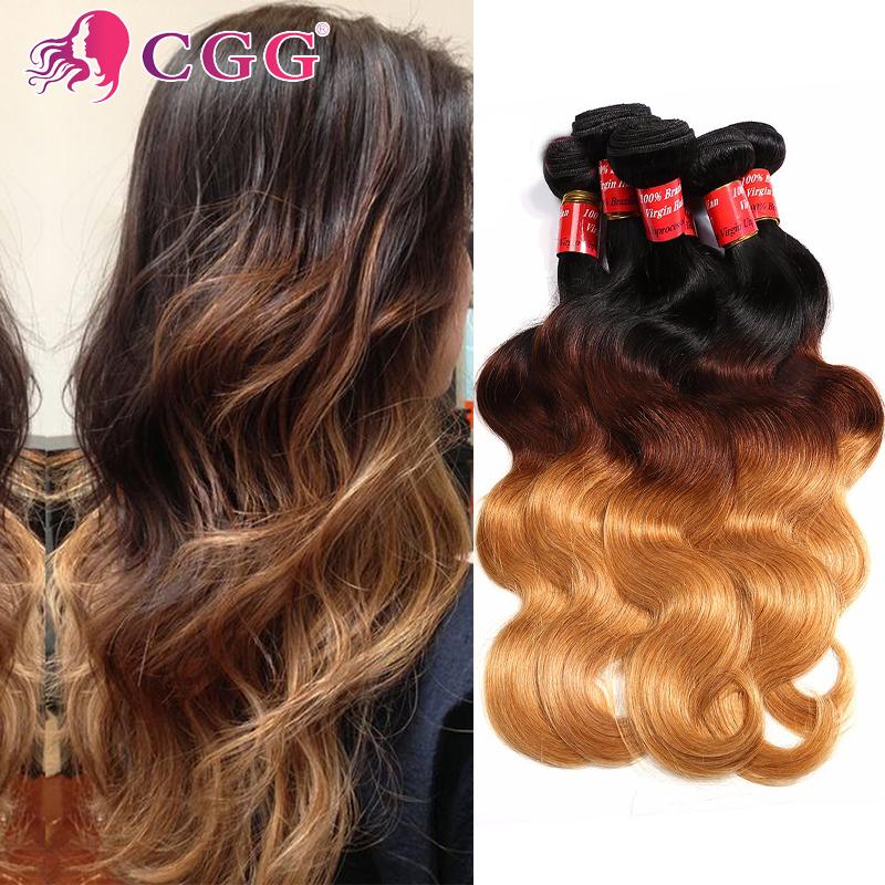Rosa Hair Products Ombre Color T1B/4/27 Human Hair Three Tone Virgin Malaysian Hair Body Wave Ombre Hair Extensions 4 Pcs Lot<br><br>Aliexpress