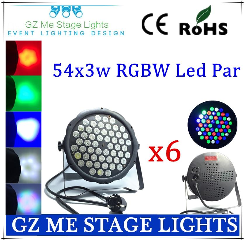 6pcs/lots Plastic RGBW 54 X 3W LED PAR light DMX512 par led disco lights of professional DJ equipment stage lihgting<br>