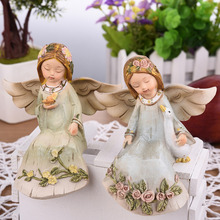 Creative Gifts Beautiful Angel Resin Angel Ornaments Artificial Home Decor Miniature Flower Angel Figurines Wedding Decoration