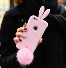 The girl fluffy rabbit cases following from cloth + hair bulb for iphone 6 , 6s, 6 plus , 6s plus(China)