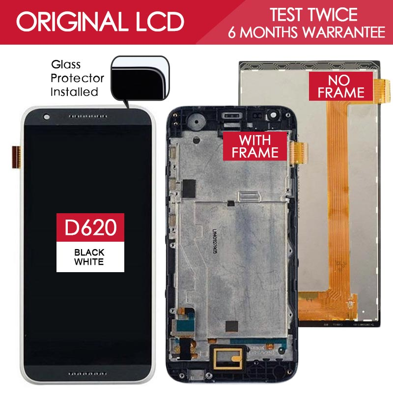 Tested Original 5.0 inch Black 800x480 Display For HTC Desire 620 620U 620T 620G LCD Touch Screen with Frame Replacement Parts<br><br>Aliexpress