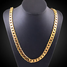 Large 50cm long double curb cuban men gold chain Burly men's solid yellow gold GF Thick necklace chain 10mm X198