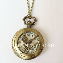 10pcs/lot Wholesale movie charm hunger games pocket watches laugh at the bird necklace Dia45mm,original factory supply(China)
