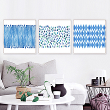 Blue Water Drop Diamond Nordic Art Drawing Square Canvas Mural Poster Abstract Wall Picture Ornaments for Entrance Corridor Cafe