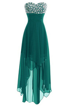 Beaded Bodice Sleeveless Chiffon Sweetheart Irregular Hem Knee Length Bridesmaid Dress Green Custom Made 2016