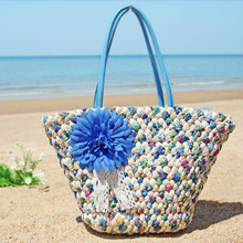 Women Bags Handmade Knitted Compile Boho Bohomian Beach Summer Bags New Fashion Bikini Handbags Shoulder Totes Cool Flower