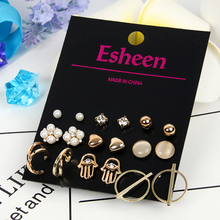 New 9 pairs/set Fashion Pearl Stud Earrings Set For Women Elegant Mixed Matel Ball Earings Jewelry anel Brincos