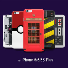 Retro Funny PokeBall Camera Pattern Painted Cover Case for iPhone 6s 6 5S 5 capinhas Game controller British Red Telephone Box