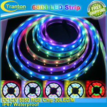 5m 12V IP67 Tube waterproof 6803 IC Magic Dream Color LED Flexible RGB Strips 30LED/m SMD 5050 chasing Lights