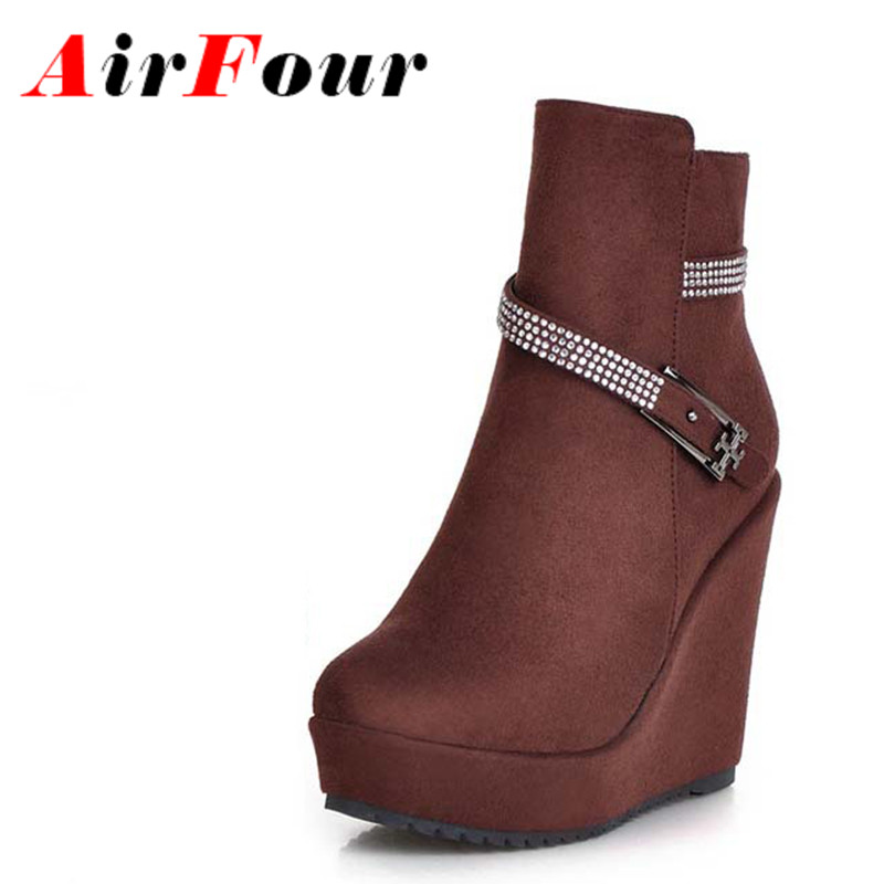 Airfour New Women Boots Rhinestone Buckle Slope With Waterproof Boots With High Heels Zip Shoes Boots Platform Women Shoes<br><br>Aliexpress