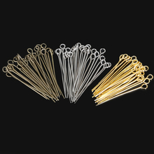 "30mm Approx 380pcs Antique Bronze/Rhodium/Gold Color ""9"" Shape Eye Pin Head Pins DIY Jewelry Making Accessories Craft(China)"