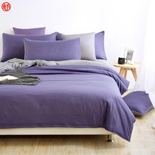 2017 Brief bedding set purple gray duvet cover double side king queen solid bedding zebra bed sheet bed linen five size textile(China)