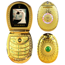 Vintage lotus gradual flower jade buddhism GPRS E book voice mail DV luxury flip metal lady's mini mobile phone cellphone P512(China)