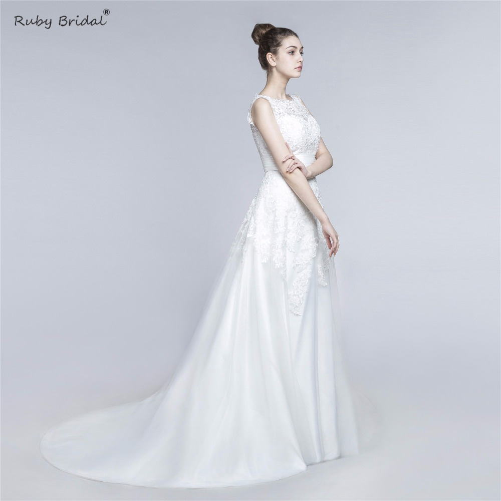 Ruby Bridal Robe De Mariage Scoop Neck Appliquses Cap Sleeve Mermaid Wedding Dress Detachable Train Trumpet Wedding Gown factory
