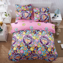 Home textile AB side bedding set cartoon pink Monkey bedding housse de couett kid bed linen set blue bedclothes cute funny sheet(China)
