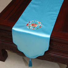 200*33cm Noble Chinese Vintage Embroidered Silk Beautiful Sky Blue Table Runner Cloth& Bed Flag(China)