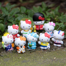 9pcs Travel Abroad Hello Kitty Fairy Garden Decor Miniatures Jardin Terrarium Figurines Bonsai Succulent Gnomes Home Accessories