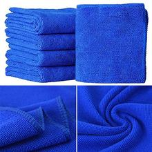 5Pcs Blue Soft Absorbent Wash Cloth Car Auto Care Microfiber Cleaning Towels 8P49