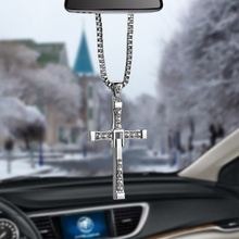 Car-Styling Crystal Metal Christian Cross Automobile Car Rearview Mirror Decoration Hanging Ornament Auto Interior Decor Pendant(China)