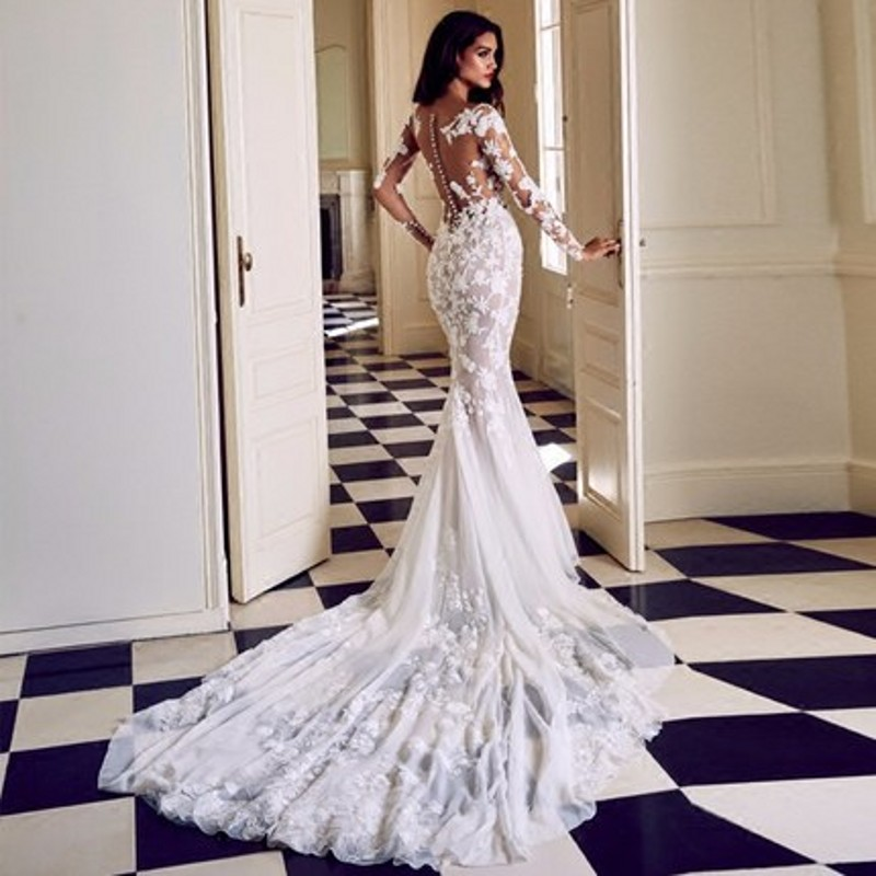 Sexy 2019 Lace Long Sleeve Mermaid Wedding Dress New Design See Through Appliques Bridal Gowns High Quality Vestido De Noiva