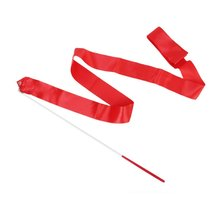 5pcs( Dance Ribbon Rhythmic Gymnastics Streamer Rod Baton Twirling Party Chinese New Year - Red.