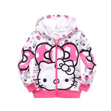 New Cartoon Clothes Hoodie Kids Hello Kitty Children Coat Tracksuit Girls Zipper Long Sleeved Toddler Girls Sweater 100% Cotton