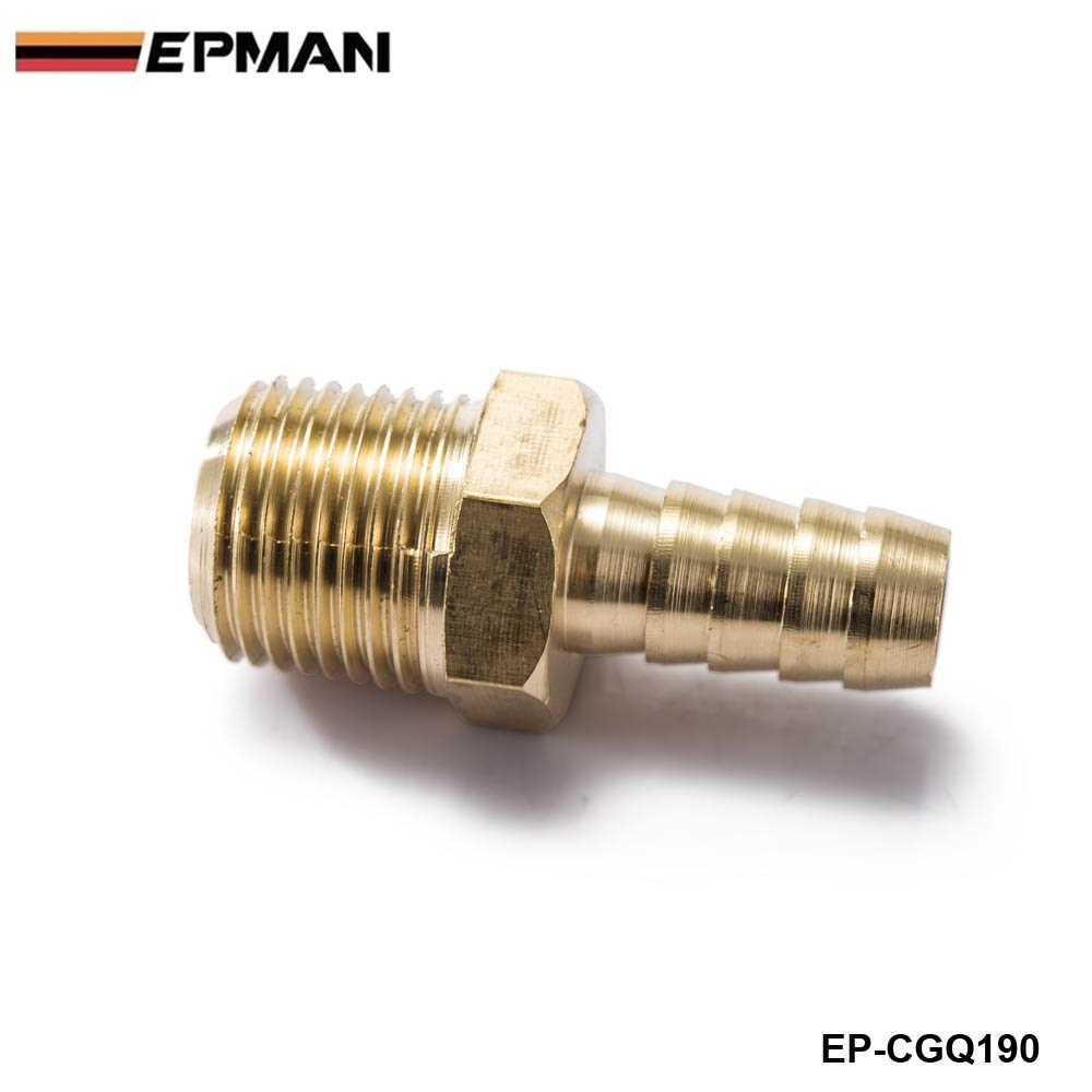 """EPMAN - 1/2"""" Hose Barb x 1/2 MIP Brass Hose Barb x Male Pipe Thread NPT, MIP Fitting Fuel Water For BMW VW AUDI EP-CGQ190"""