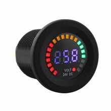 LED DC 24V Car Styling Car Motorcycle Boat Digital Panel Voltage Voltmeter Meter Tester Led Display Colorful(China)