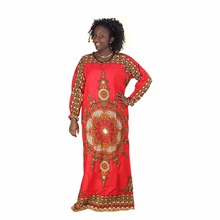Fast Shipping Dashiki Fashion Women Summer Long Sleeved Loose Dress Female Africa Printed Vintage Red Long Dress(China)